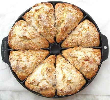 GF Scones.  1 3/4 cups King Arthur Gluten-Free Multi-Purpose Flour or 2 1/4 cups brown rice flour blend  1/4 cup sugar  2 teaspoons baking powder  1/2 teaspoon xanthan gum  1/2 teaspoon salt  1/4 teaspoon nutmeg, optional    Don't forget the xanthan gum! Believe it or not, just 1/2 teaspoon will hold these scones together.
