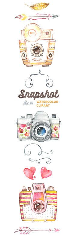 Snapshot. Watercolor handpainted cameras clipart by OctopusArtis  Stop by my Etsy Shop: www.etsy.com/shop/TeoldDesign