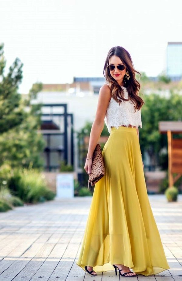 Yellow Maxi Skirt super-sexy-crop-top-with-maxi-skirt-outfits-24