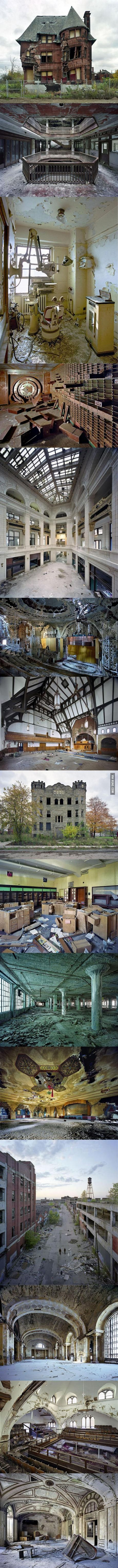 *m. Detroit is the world's biggest ghost city. I wouldn't want to live in Detroit per say, but I love the idea of taking an abandoned house and remodeling it to be inhabited again. I love the stone one 8 pictures down.