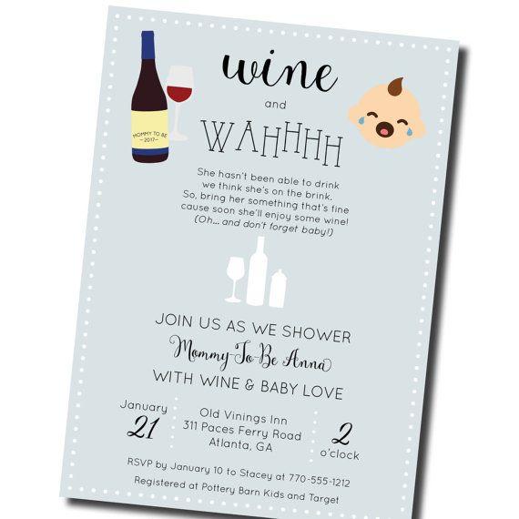 Wine Baby Shower Invitation Wine And Wahhhh By OhmydesignsbySteph. Shower  InspirationGender RevealBaby Shower Invitations