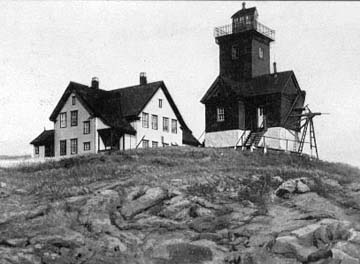 old photo of lighthouse and keeper's house at Two Bush Island Light, Near Spruce Head, Maine.