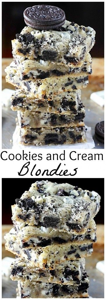 Ultimate Cookies and Cream Blondies - thick, chewy, and ready FAST!