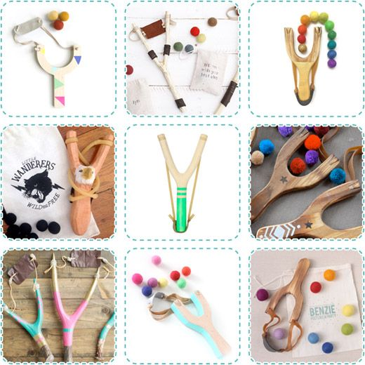 Creative Cravings... PING! Handmade Wooden Slingshots for use with felt ball or pom pom ammo!