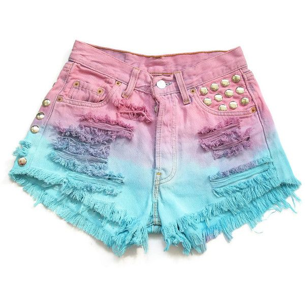Ombre dip dyed and studded high waist shorts XS ($65) ❤ liked on Polyvore featuring shorts, bottoms, clothing - shorts, high rise shorts, highwaist shorts, high waisted shorts, ombre dip dye shorts and high-waisted shorts