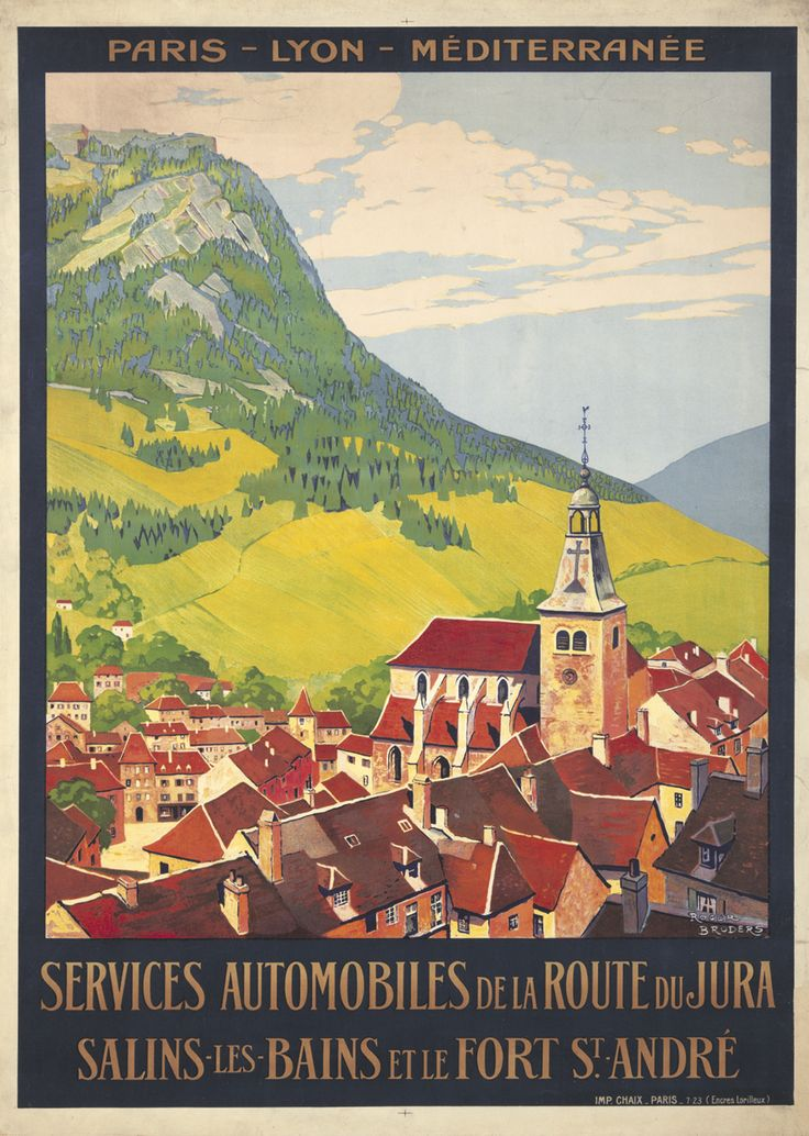 Vintage French Auto Touring Travel Poster by Roger Broders: A Route to/thru Jura, Salins, Bains, & Fort St. Andrews