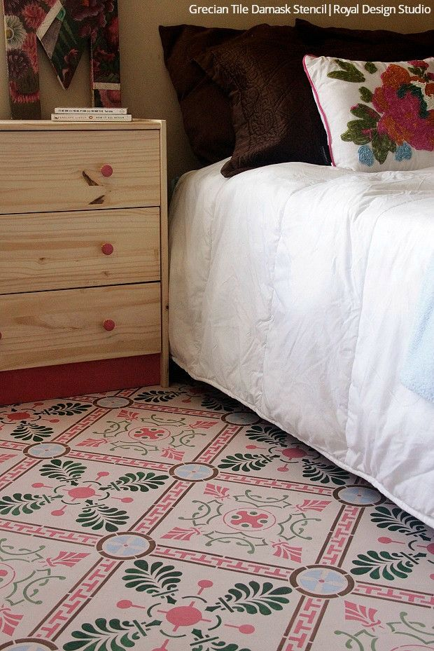 Solution To Old Vinyl Flooring: How To Paint With Tile Floor Stencils