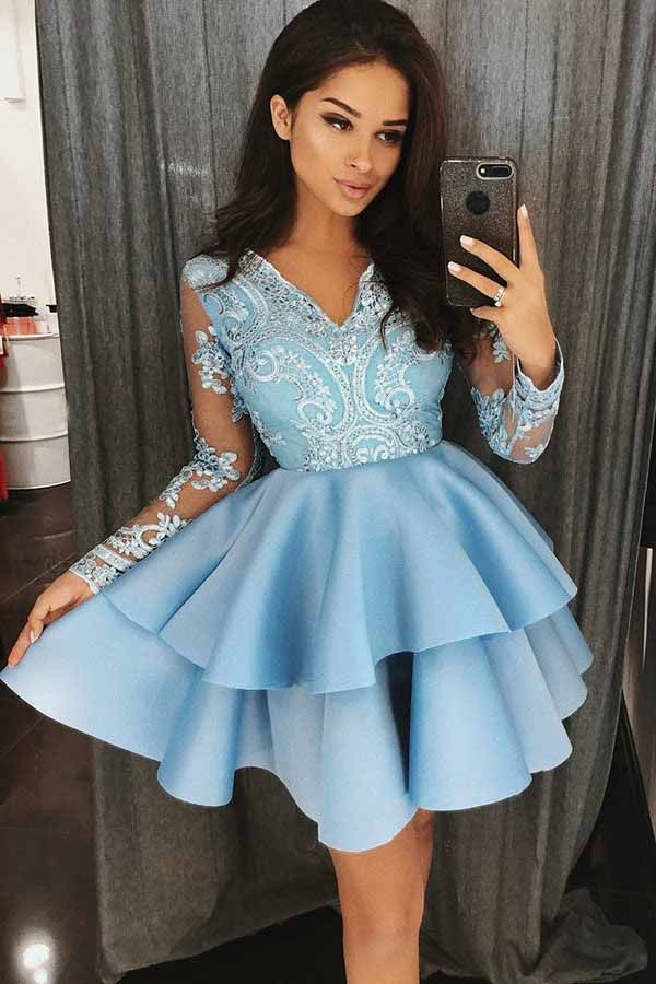 A-Line V-Neck Tiered Blue Satin Homecoming Dress with Appliques PD023
