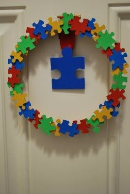 Autism Awareness Wreath.....I'm making this! Dollar Store puzzles and paint...SO easy and inexpensive!!!
