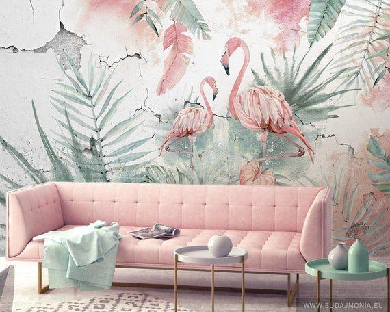 Flamingos Wallpaper With Animals Safari Wallpaper Wall Etsy Flamingo Wallpaper Wall Wallpaper Watercolor Wallpaper