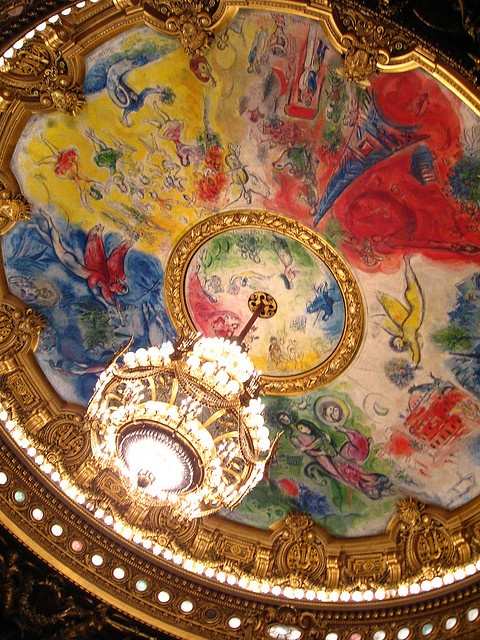 Ceiling mural by Marc Chagall, 1964. Located in the Palais Opera Garnier, Paris, it is lit by the 8 tonne chandelier that terrorizes the audience in Phantom of the Opera