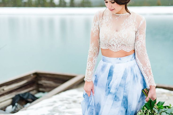 Banff Mountain Elopement Wedding Inspiration // Three Different Views via Rocky Mountain Bride // Banff Wedding Photography, Banff wedding dress // Sweet Caroline, Misty C Photography