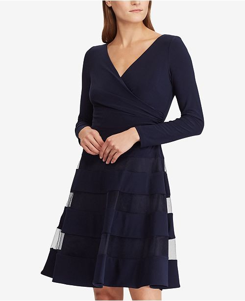 448308c41e0 Lauren Ralph Lauren Tulle-Trim Jersey Dress   Reviews - Dresses - Women -  Macy s