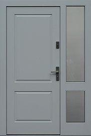 Drzwi zewnętrzne z doświetlem dostawką boczną model  535,2b w kolorze białe