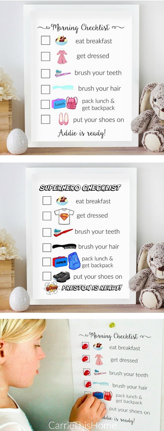 Help your kids get themselves ready in the morning with this personalized morning checklist! This will be your secret weapon to getting the kids ready in the morning without nagging! There are lots of visual cues making it perfect for pre-readers.  Made with love by https://www.etsy.com/shop/CarrieThisHome/ #momhacks