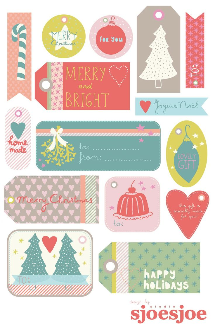 FREE printable Christmas gift tags by Studio Sjoesjoe