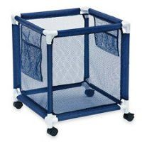 Modern Blue Pool Storage Bin – Standard   Perfect Contemporary Nylon Mesh Basket Organizer For Your Goggles, Beach Balls, Floats, Swim Toys and Accessories   Air Dry Items Quickly & Easily Roll The Mesh Storage Bin To Your Home Garage or Shed