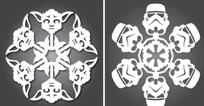Как сделать бумажные снежинки Звездные войны своими руками