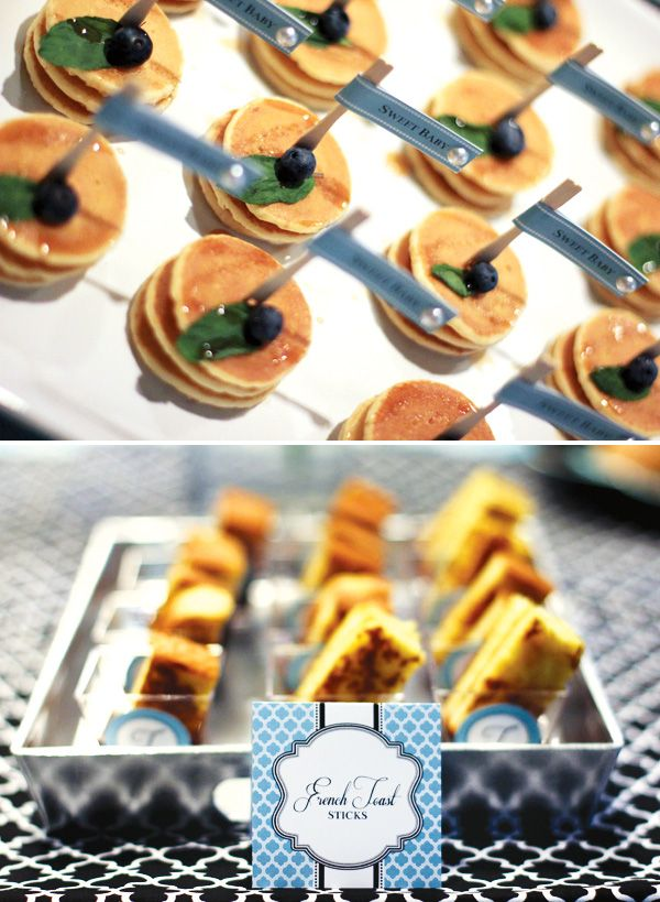 Mini French toast + blueberry pancakes for a Breakfast at Tiffany's inspired bridal shower. Desserts & Designs.