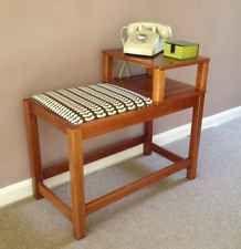 Vintage, Retro, Teak Telephone Table Seat, Orla Kiely Fabric