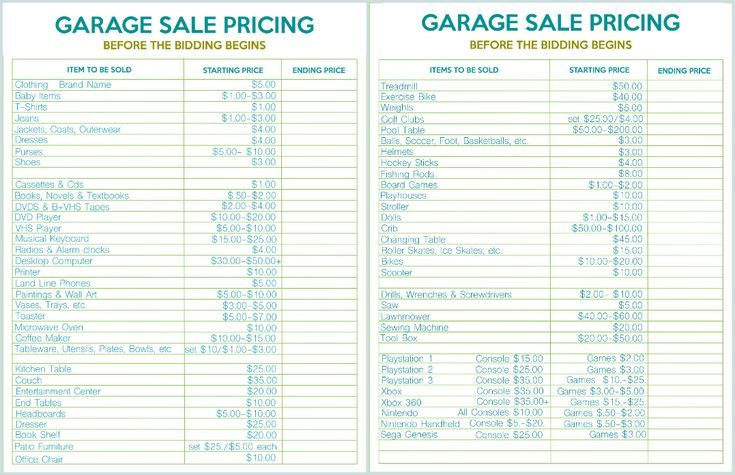 graphic relating to Printable Garage Sale Price List known as How towards Host the Fantastic Garage Sale Printable Established Revenue