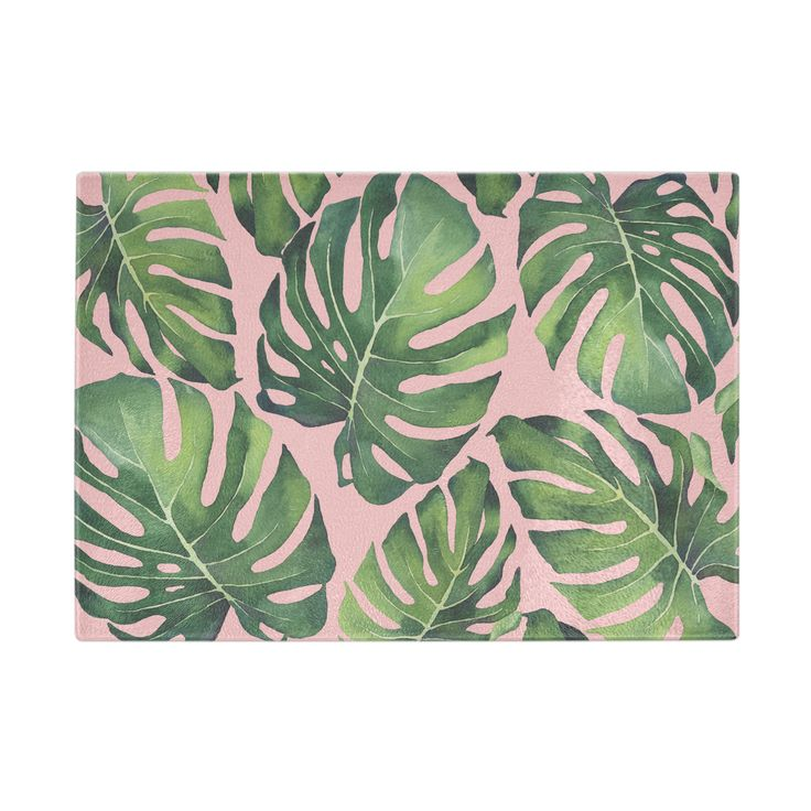 Tropical Leaves Glass Cutting Board, Green/Pink