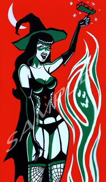 Bettie Page Halloween Art Print. $15.00, via Etsy.