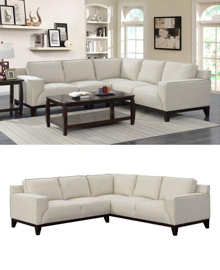 Hampton Linen Modern Sectional Sofa by Elements International in ...