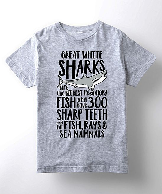 Athletic Heather Great White Shark Facts Tee - Kids