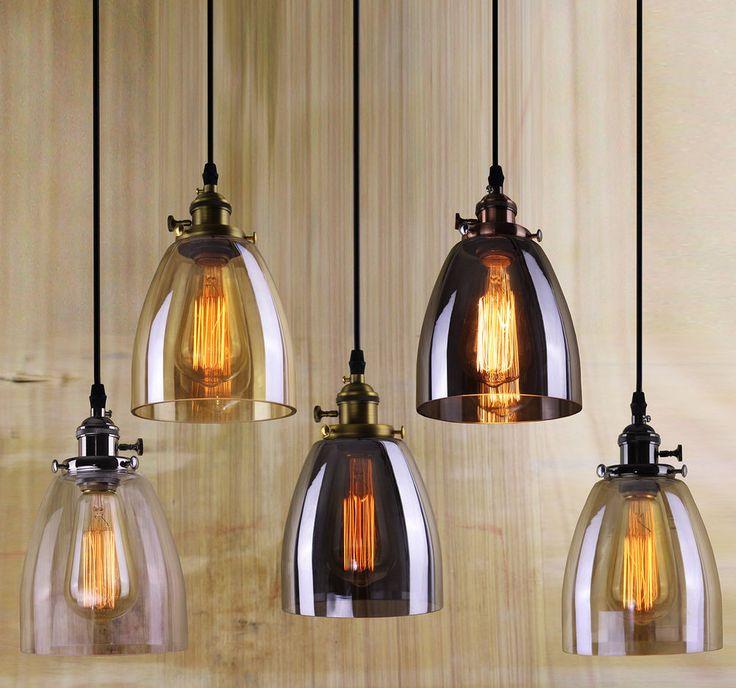 Industrial retro vintage glass shade brass pendant light ceiling chandelier led