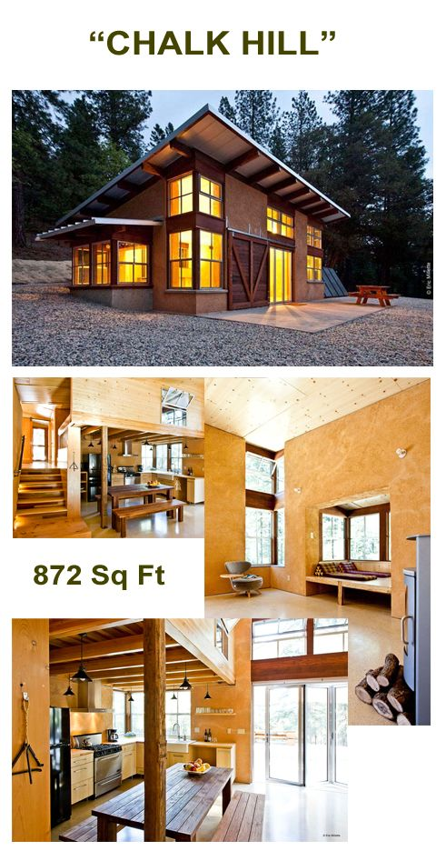"872 SF (+150 SF loft) ""Chalk Hill"" off-grid straw-bale cabin"