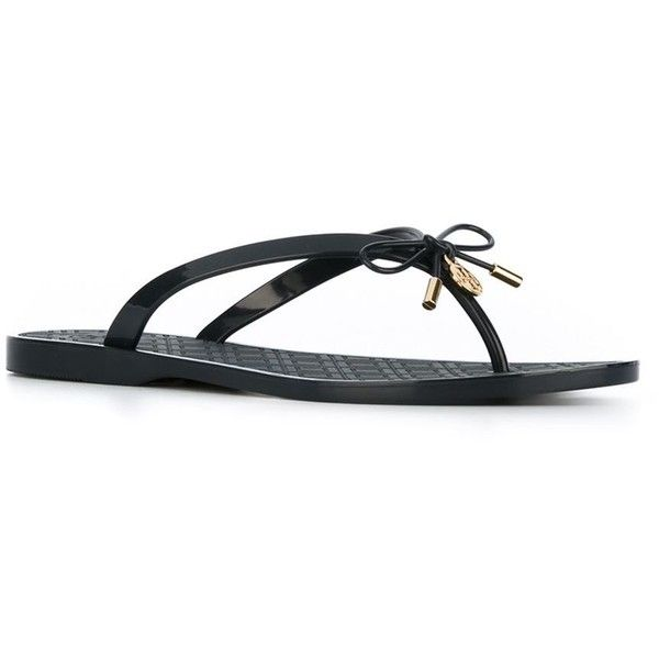 Tory Burch Bow Detail Flip Flops ($96) ❤ liked on Polyvore featuring shoes, sandals, flip flops, navy sandals, navy shoes, tory burch, tory burch sandals and navy blue shoes