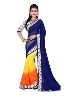 Kesar Sarees Blue Georgette fancy saree with unstitched blouse