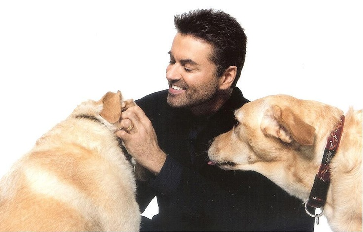 George michael! Love the pictures with his dogs!