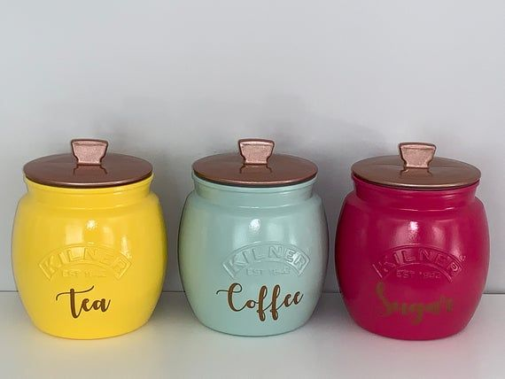 Coffee Tea Sugar Canister Set Your Choice Of Colours Kilner Kitchen Storage Tea Coffee Tea And Coffee Canisters Tea Coffee Sugar Canisters Sugar Canister Set