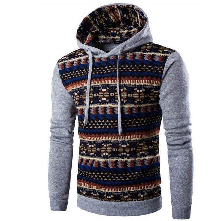 Looking for something colorful and stylish rolled into one fabulous package? If so, this geometric print hoodie is right up your alley. It has solid colored sleeves and a form-fitting shape that is id