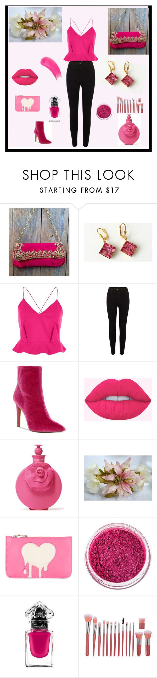 """Just PINK"" by artistinjewelry ❤ liked on Polyvore featuring River Island, Jessica Simpson, Valentino, Love Moschino, Manic Panic NYC, Guerlain, Sisley and vintage"