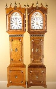 1:12 scale WORKING Welsh parquetry longcase clock with inlaid removable hood and glass door. Brass finials and capitals. Parquetry inlay and cross-banding to door and base panel. The white dial is engraved and is available as a hand-painted moon roller dial or a white dial with hand-painted flowers to the corners and a bird to the arch. Brass hands. Gorgeous. Halls Miniature Clocks.