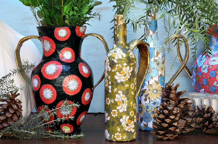 I'm still figuring out different ways to recycle my stash of cheap glass flower vases (and wine bottles)  This was a fun way to add some color and pattern with…