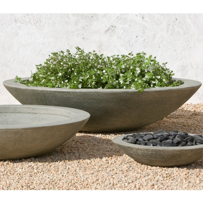 Low Zen Large Cast Stone Bowls