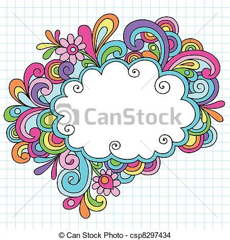 Vector - Psychedelic Cloud Frame Doodles - stock illustration, royalty free illustrations, stock clip art icon, stock clipart icons, logo, line art, EPS picture, pictures, graphic, graphics, drawing, drawings, vector image, artwork, EPS vector art
