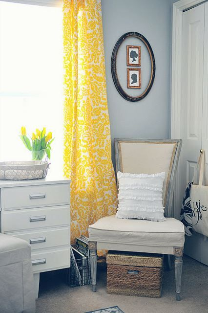 Yellow curtains against my blue walls in the living room want it for my home pinterest for Chevron curtains in living room