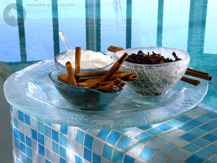 #Luxury #Spa #Amenitites Handmade glass bowl set for luxury spa and bathroom amenities designed by www.the-glass-co.com