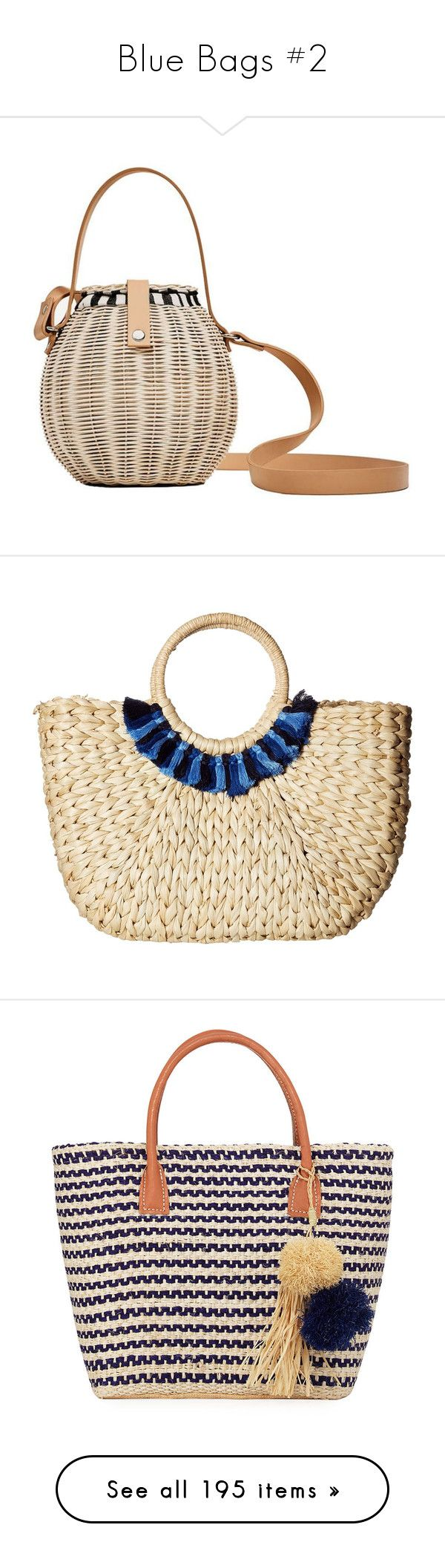 """Blue Bags #2"" by kikikoji ❤ liked on Polyvore featuring bags, handbags, white purse, straw bags, white handbags, woven straw bag, polka dot bag, shoulder bags, yellow crossbody and prada handbags"