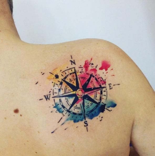 Kompass in Aquarell-Optik