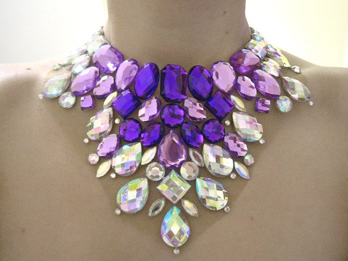 Stunning Bright Purple and Clear AB Rhinestone Mega Statement Bib Necklace, Sparkling Jewellery. $44.99, via Etsy.