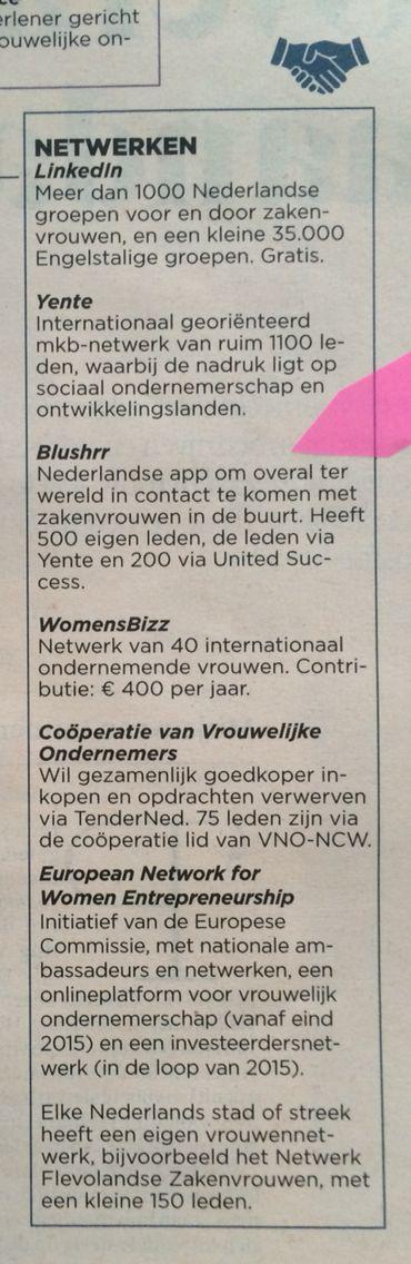 Blushrr in FD Zakenvrouw katern zaterdag 27 juni 2015, page 13