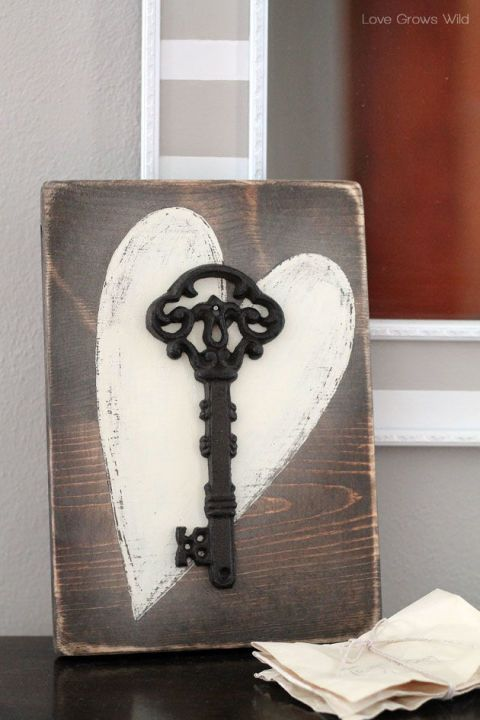 Key to My Heart Rustic Wood Sign:  Hang or lean this romantic sign anywhere in your master bedroom as a reminder of your love.