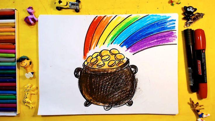 Как нарисовать ГОРШОК с ЗОЛОТОМ и РАДУГУ / Урок рисования для детей от 3...