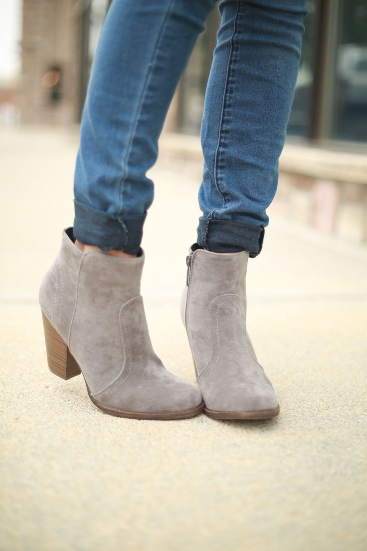 Grey Low Platform Ankle Bootie.